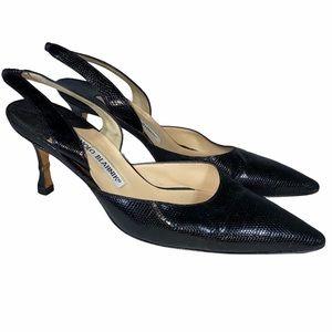 Manolo Blahnik Black Slingback Heels Size 6
